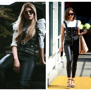 We Wore What Faux Leather Moto Overalls Black XS